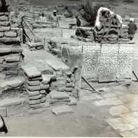 Conservation works in the west area of courtyard, view from south, 1964 ©Italian Archaeological Mission in Afghanistan