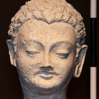 Fig. 23 - Buddha head with traces of blue paint on the hair from Chapel 4 (TN CH 4 no. 28)