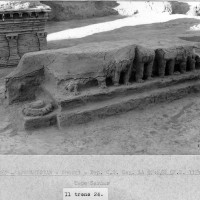 Upper Terrace, row of stupas and thrones; in the fore, Throne 24