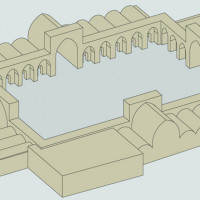Hypothetical 3D reconstruction of the central area of the palace (C. Passaro 2014). Copyright: ©IsIAO archives Ghazni/Tapa Sardar Project 2014