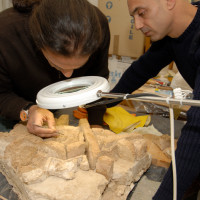 D. Marletto and F. Colombo conserving the brick finds at the MNAO, 2008 ©IsIAO archives Ghazni/Tapa Sardar Project 2014