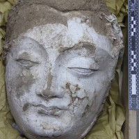 Fig. 21 - Colossal head of a bodhisattva from Chapel 4 (TN CH 4 no. 22)