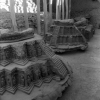 Stupa 7 (in the fore), Stupa  8 (in the middle) and Throne 6 (neg 7410-7)