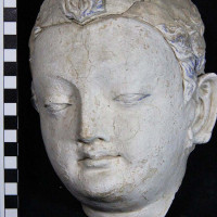 Fig. 24 - Buddha head with traces of blue paint on the hair and eyes from Chapel 4 (TN CH 4 no. 18)