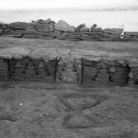 Minor cultic areas - Area 64 , detail of monument 69 representing a miniature fortification wall (neg 9936-9a)