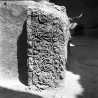 Upper Terrace, row of stupas and thrones; here, detail of the moulded decoration of Throne 9 (neg 7418-6)