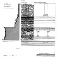 Great Stupa, section and axonometry  showing the details of the architectural elements (Dep. CS 4005)